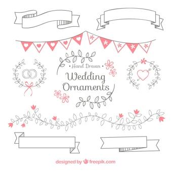 Coleção de ornamentos de casamento desenhados à mão
