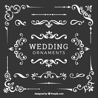 Coleção de ornamentos de casamento em design plano