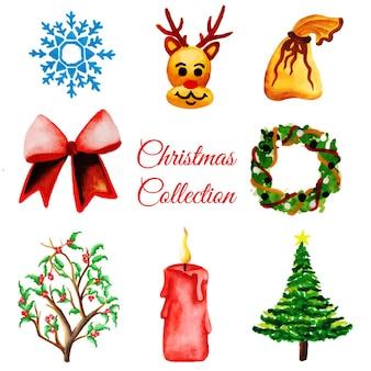 Coleção de ornamentos de natal de aquarela