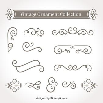 Coleção de ornamentos em estilo vintage