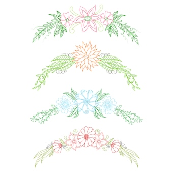 Coleção de ornamentos florais