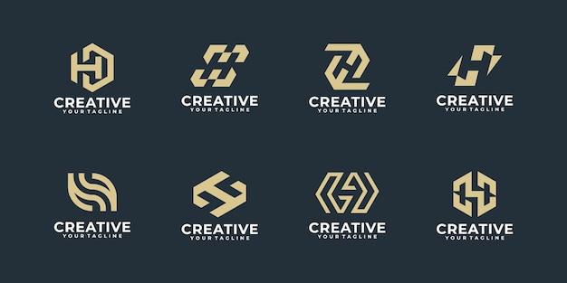 Coleção de ouro da letra h do monograma. template.icons de logotipo para empresa de negócios