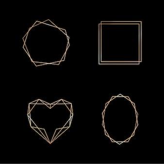 Coleção de ouro de moldura geométrica em fundo branco. elemento decorativo para logotipo, cartão, convite. modelos de luxo, estilo art déco para convite de casamento. Vetor Premium