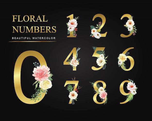 Coleção de ouro de números de flores em aquarela.