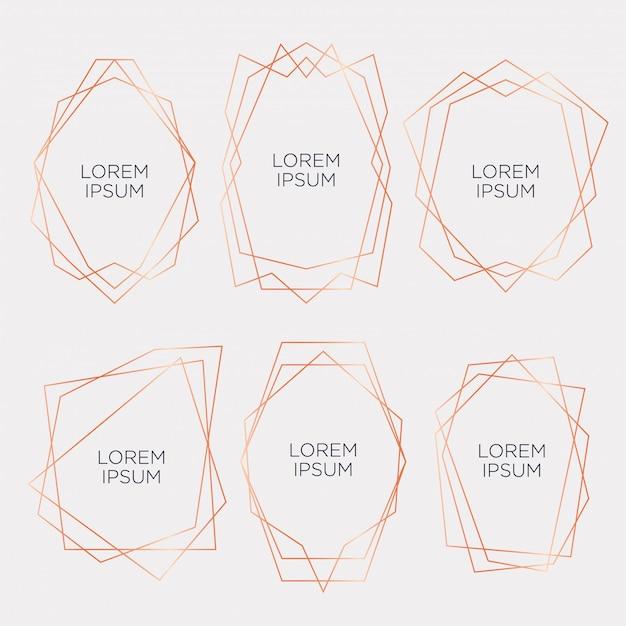 Coleção de ouro de poliedro geométrico para casamento e festa