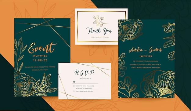 Coleção de ouro e design floral de convite de casamento