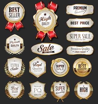 Coleção de ouro emblemas e etiquetas estilo retro