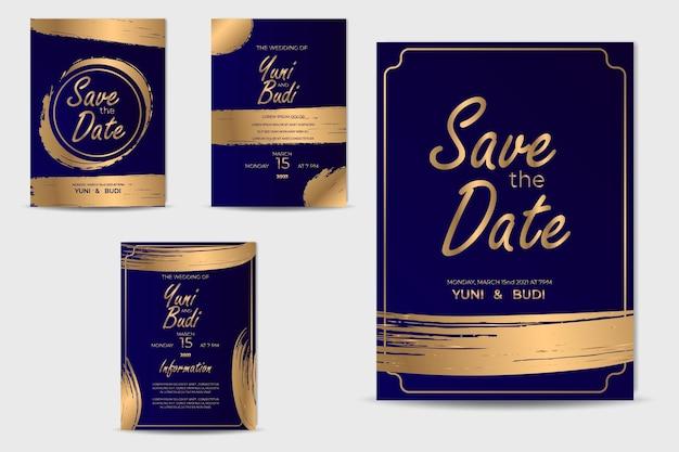 Coleção de ouro para convite de casamento