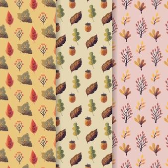 Coleção de outono aquarela padrão