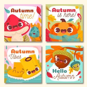 Coleção de outono cartão mão desenhada