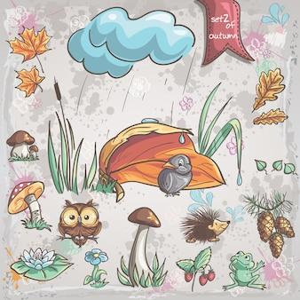Coleção de outono com imagens de pássaros, animais, fungos, flores, cones para crianças. conjunto 2.
