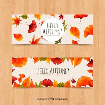 Coleção de outono estilo aquarela de banner