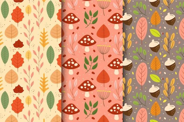 Coleção de outono mão desenhada padrão