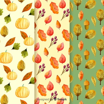 Coleção de outono padrão aquarela