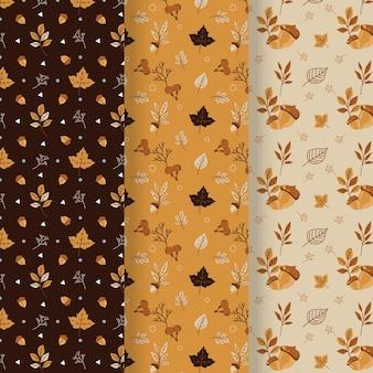 Coleção de outono padrão design plano