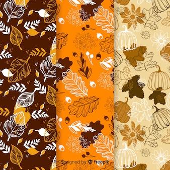 Coleção de outono plana padrão com folhas
