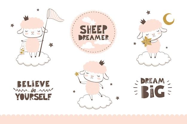 Coleção de ovelhas de desenho animado