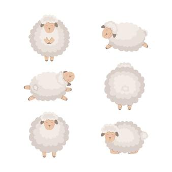 Coleção de ovelhas dos desenhos animados isolada no branco.