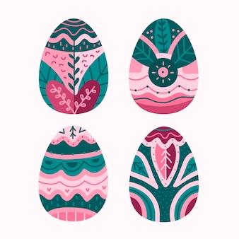Coleção de ovo de páscoa desenhada de mão