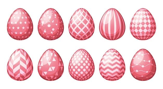 Coleção de ovos com padrões geométricos.