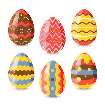 Coleção de ovos de dia de páscoa em design plano