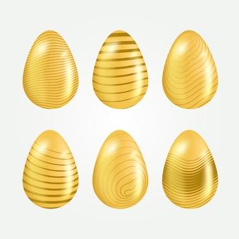 Coleção de ovos de ouro de dia de páscoa