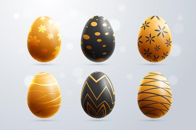 Coleção de ovos de ouro para o dia de páscoa