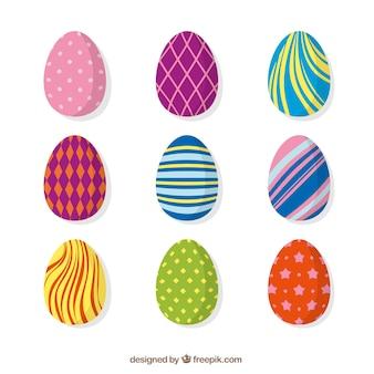 Coleção de ovos de páscoa coloridos abstratos