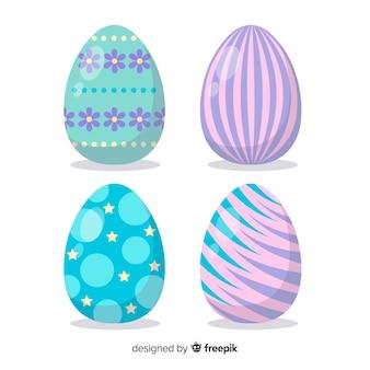 Coleção de ovos de páscoa de cor pastel