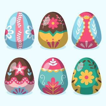 Coleção de ovos de páscoa de design plano