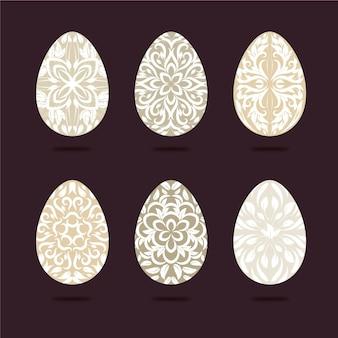 Coleção de ovos de páscoa desenhada à mão