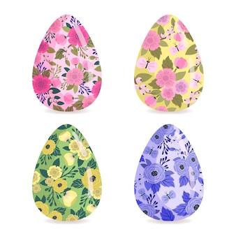 Coleção de ovos de páscoa desenhados à mão