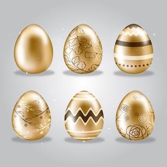 Coleção de ovos de páscoa dia dourado