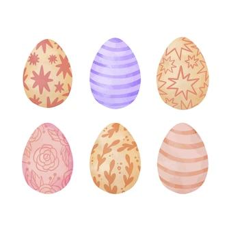 Coleção de ovos de páscoa em aquarela