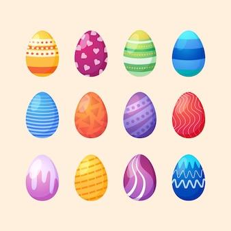 Coleção de ovos de páscoa estilo plano