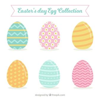 Coleção de ovos de páscoa pastel