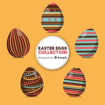 Coleção de ovos de páscoa plana dia
