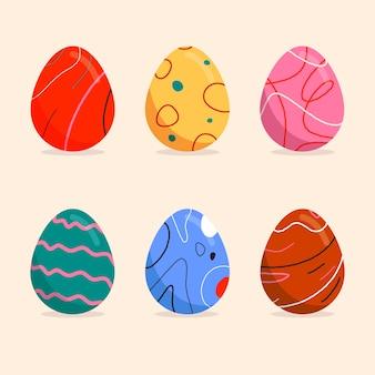 Coleção de ovos de páscoa plana