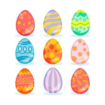 Coleção de ovos de páscoa planos