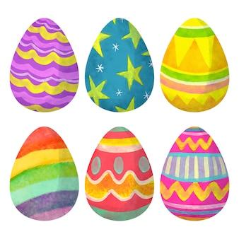 Coleção de ovos em aquarela para o dia de páscoa