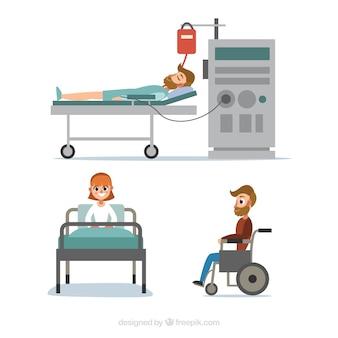 Coleção de pacientes doentes