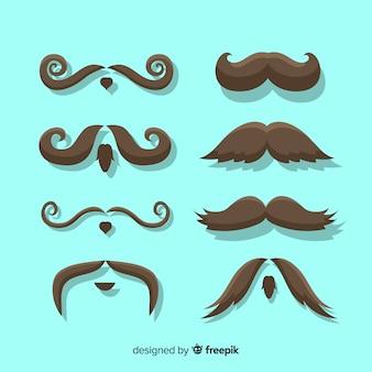 Coleção de pacote de bigode movember em design plano