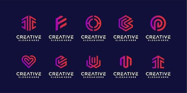 Coleção de pacote de design de logotipo de monograma abstrato