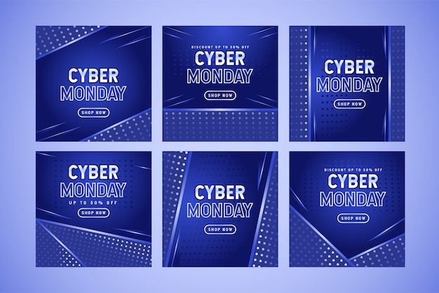 Coleção de pacotes de postagem em mídia social de venda cibernética