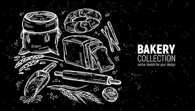Coleção de padaria de esboço desenhado à mão