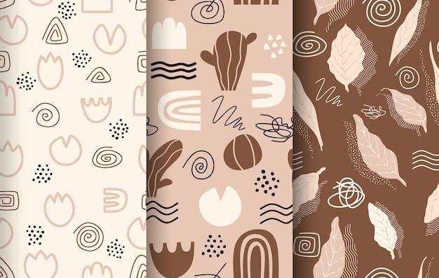 Coleção de padrão abstrato desenhada.