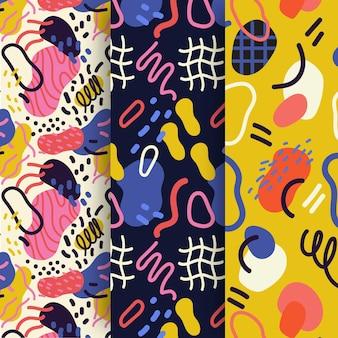 Coleção de padrão abstrato desenhado à mão