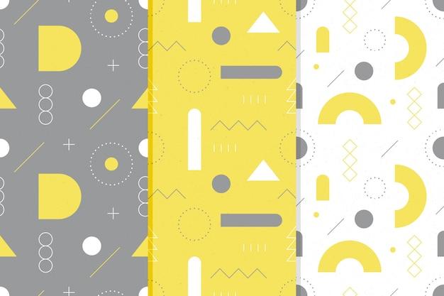 Coleção de padrão amarelo e cinza sem costura