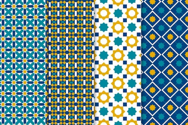 Coleção de padrão árabe linear plano