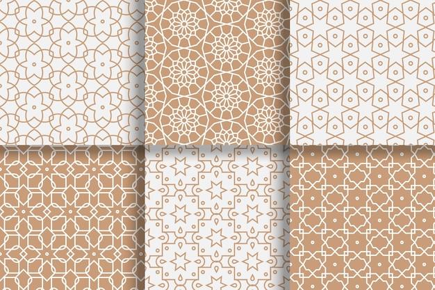 Coleção de padrão árabe linear simples